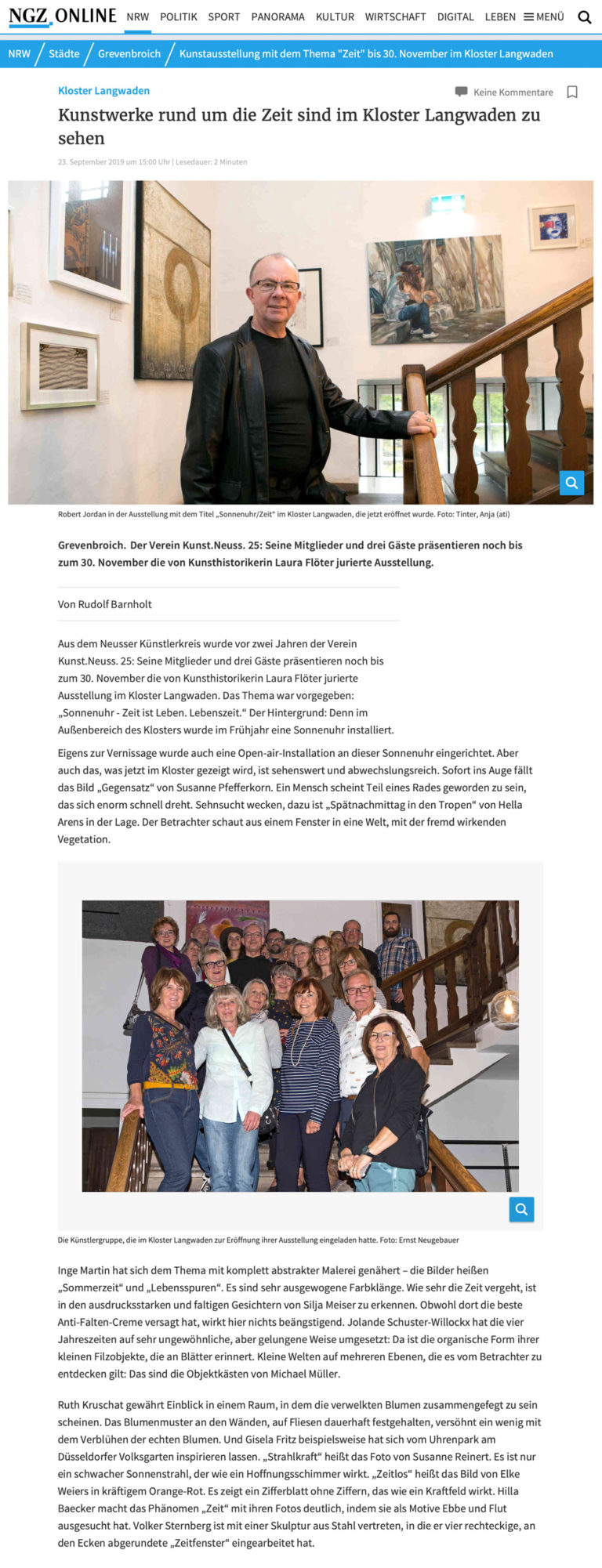 Presseartikel in der NGZ zur Ausstellung Sonnenuhr